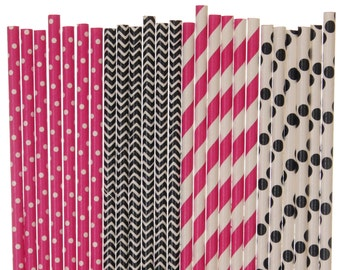 Paper Straw Mix, Hot Pink and Black Polka Dot Chevron Striped Paper Straws, Sweet 16 Party Decor, 1st Birthday Supplies, Bachelorette Party