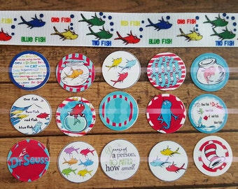 Dr Seuss ribbon with matching cut out bottlecap images One fish two fish
