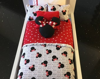 American Girl doll bedding, Reversible Minnie Mouse / red with white polka dot with fluffy and fleece accent pillows