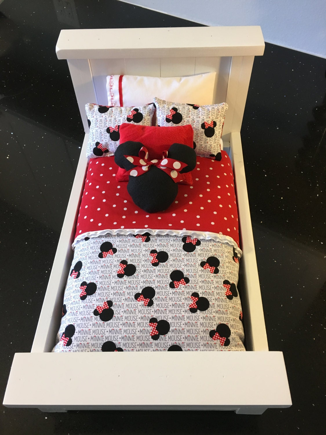 american girl doll bedding reversible minnie mouse red with
