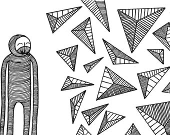 Art Print Illustration / Black and White Print / Consciousness / Potentials