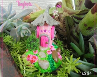 Pink Fairy House Miniature Fairy Garden Terrarium House OOAK