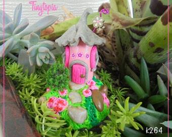 Pink Fairy House~Miniature Fairy Garden Terrarium House~OOAK