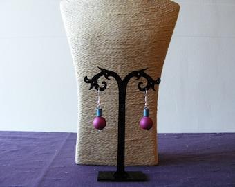 Pink, Blue Earrings
