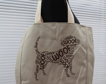 Meow/woof lined tote shopper bag