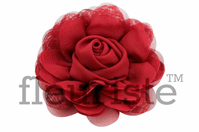 BURGUNDY Chiffon Flower Wholesale Flower Fabric Flower