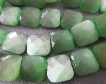 Spring Green Faceted Square Cat's Eye Beads 29pcs