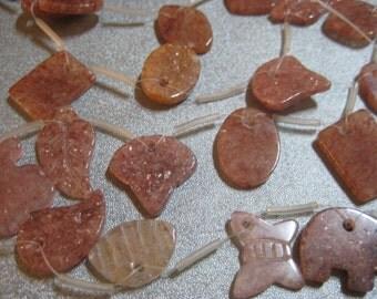 Sunstone Mixed Shapes beads 18pcs