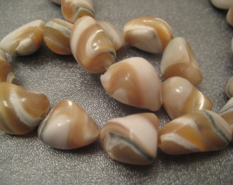 Caramel Mother Of Pearl Nuggets Beads 36pcs