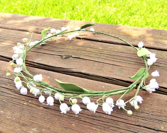 White Chaplet , Chaplet for the bride , floral Chaplet , Corona for the bride , flowers for the bride , Lily of the Valley , White Crown