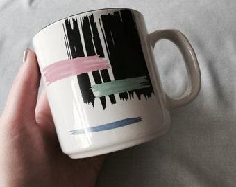 Modern Paint Strokes Mug // Ceramic Coffee Mug // Black Coffee Mug // Vintage Coffee Mug // Modern Home Decor (D5)