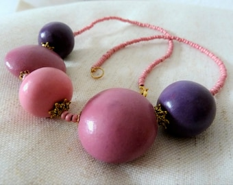 Modern necklace pink, plum and old pink rocaille, cups Golden, polymer clay