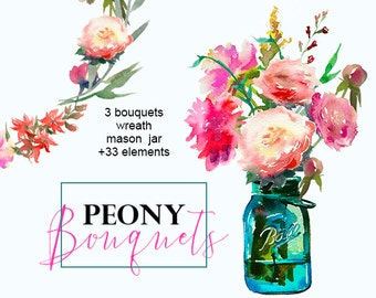 Floral Clipart Peonies Mason Jar Art Watercolor Pre-made Bouquets Pink White Flowers Roses Hand Painted Clipart Set Wedding Images Wreath