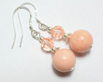 Peach Jasper and Swarovski Elements Earrings  Gem Stone Earrings Dangle Jasper Small Earrings