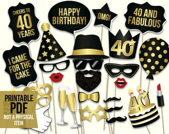 40th birthday photo booth props: printablePDF. Black and gold Forthieth birthday party supplies. Instant download Mustache, lips, glasses