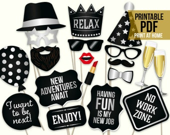 Retirement photo booth props: printable PDF. Retirement party ideas. Retirement party decorations decor. Digital retirement photo props