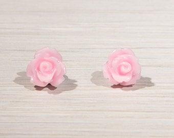 Rose Stud Earrings, Rose earrings, Rose jewellery, flower earrings, colourful rose stud earrings