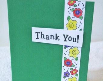 Handmade 3D Green Thank You Card