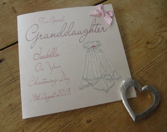 Personalised Special Granddaughter Christening Card - Pink Gown Design PPS58A