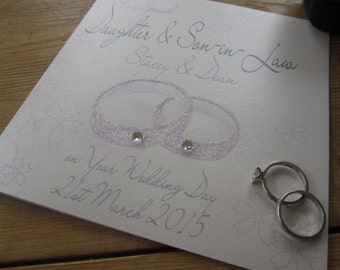Personalised Wedding Card - Daughter/Son & Son/Daughter-in-Law Rings Design PPS82/PPS83