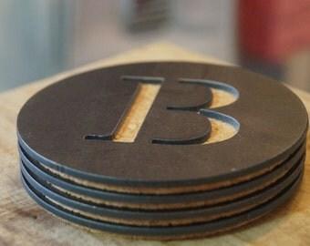 "Round Metal Coaster - Initial ""B"""