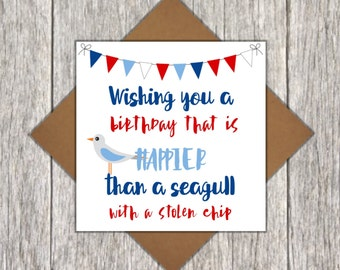 Funny Seagull Birthday Card