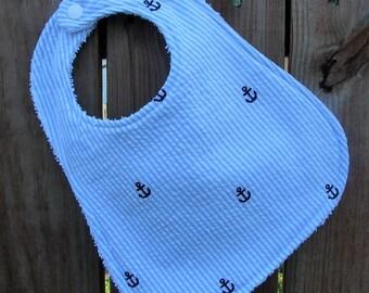 Baby Bib - Handmade Bib - Nautical Bib - Blue and White Stipe Bib with Anchors - Baby Boy BibHandmade Bib