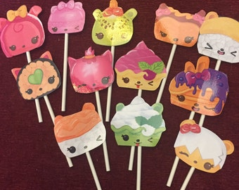 Num Noms cupcake toppers (12) Birthday toppers.
