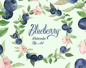 Watercolor Blueberry Clip Art