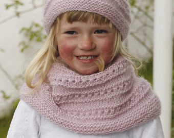 Kids Beanie + loop handknit set scarf hat, wool, alpaca
