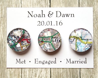 Wedding Favour Glass Magnet Sets ~ Fridge Magnets ~ Refridgerator Magnets ~ Wedding Gift ~ Personalised Map Wedding Favours ~ Engaged ~