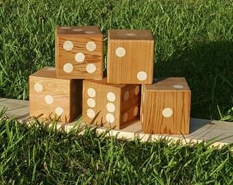 5 - Giant Yard Dice Yardzee Lawn Dice - Handemade large dice game plays like Yahtzee