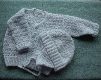 Baby boy cardigan and earflap hat, 6 to 9 months B0018