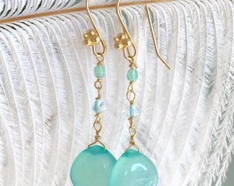 Blue Chalcedony earrings with and blue topaz rondells
