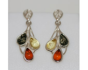 Baltic amber earrings. Multicolor amber and sterling silver earrings.