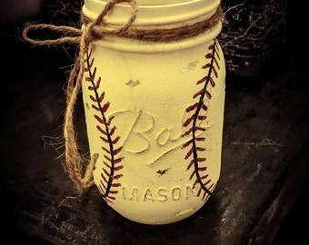 Baseball - rustic - sports - Mason jar - gift under 10 - boys gift - sports fan