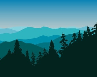 New Hampshire Mountain Range BLUE