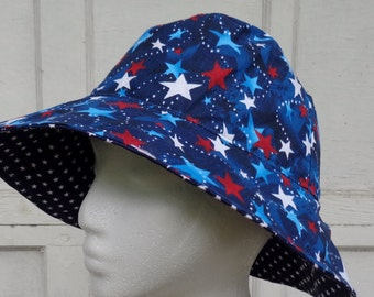 Women's 4th of  July Sun Hat reversible bucket hat
