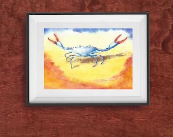 Watercolor Crab Print