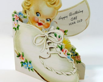 unused vintage greeting card happy birthday 1 year old first birthday children's