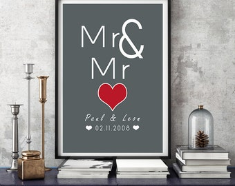 A3 Mr & Mr - art print, wedding day wall picture, print, gift wedding, gay marriage, same-sex wedding