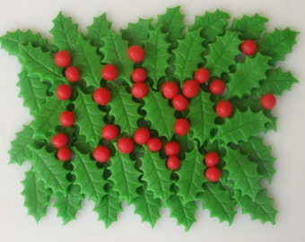 Edible Cake Decorations Holly Leaves : Holly leaves Etsy