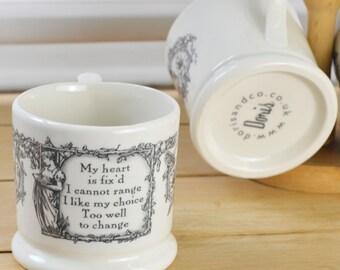 My Heart Is Fix'd Half Pint Mug. English Creamware Mug. Gift Mugs With Sentiment & Meaning. Romantic Sentiment Mug. Country Kitchenware.