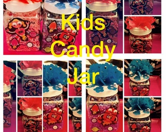 Kids party favor .. Kids party favor decorated candy filled jar