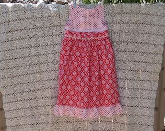 Red Ruffled Peasant Dress-Size 6