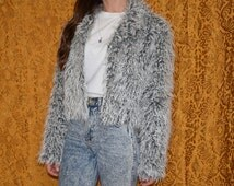 90s Teased Faux Fur Grey Jacket Coat