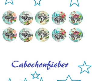 Glass cabochons 12 mm - 10 pieces - hand made