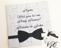 Personalized Ring Bearer proposal, Ask Ring Bearer, Will You Be Our Ring Bearer puzzle, Ring Bearer Invitation puzzle, Suit up card