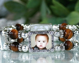 Photo Bracelet, Custom Photo Bracelet, Picture Bracelet, Picture jewelry, Tigerseye beaded bracelet, Gift for Mom, Gift for Grandmother