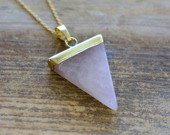 Triangle Rose Quartz Necklace - Pendant in 24K Plating w/ Stainless Steel Chain - Flag Gemstone Jewelry  (R010)